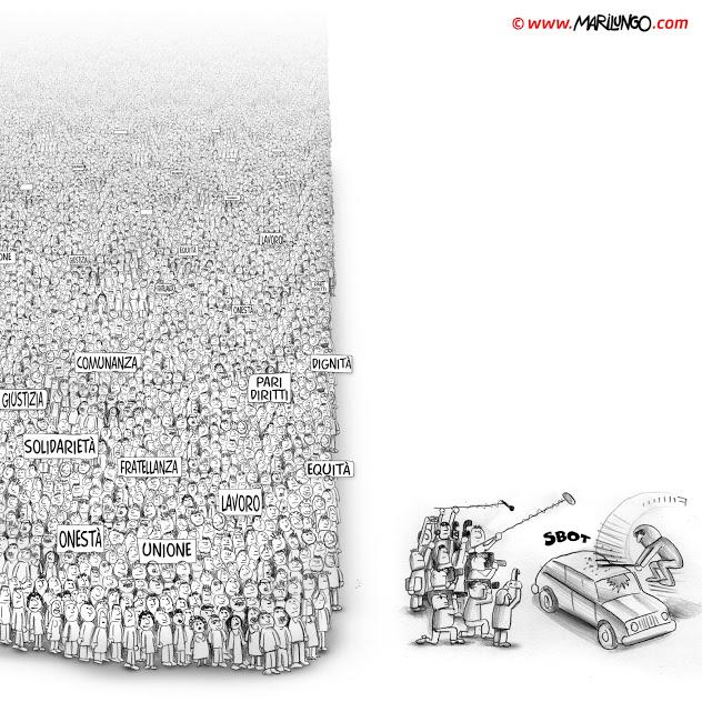 """Ilustração de Marco Marilungo sobre a """"Manifestação dos Indignados"""" que ocorreu há dois anos, em Roma. Lá, os """"baderneiros encapuzados"""" também se fizeram presentes."""