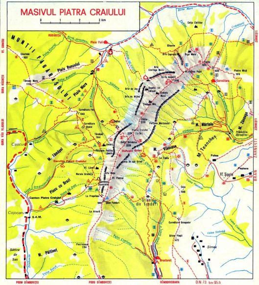 harta munților Piatra Craiului