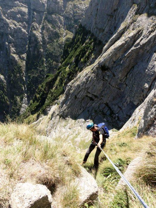 rapel în valea alba, belay alpinism