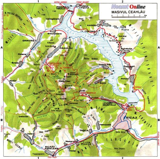 harta map masivul ceahalu