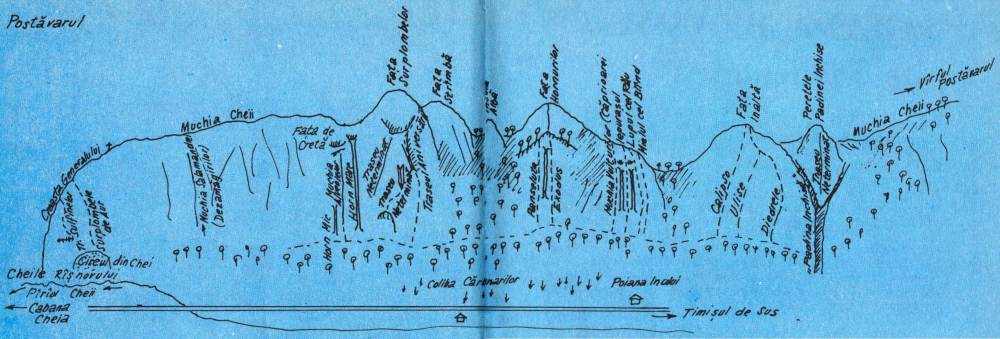 schita trasee alpinism postavarul