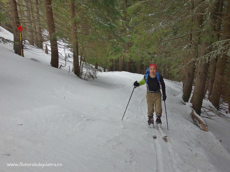 schi de tura sinaia cota 2000, urcare pe langa partie