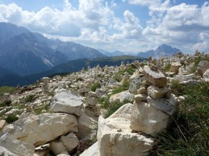 pajiște plină de momâi sub priveliștea Dolomiților