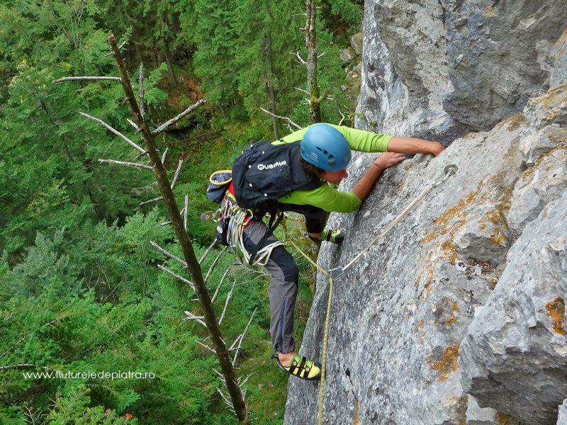 trecere la aderență, Diedrul cu Brazi, buila vanturarita alpinism