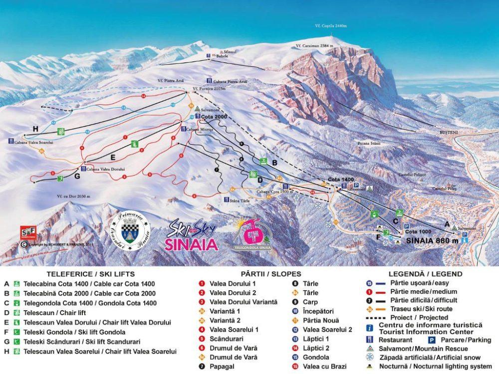 Hartă pârtii de schi Sinaia, Platoul Bucegi, domeniul schiabil