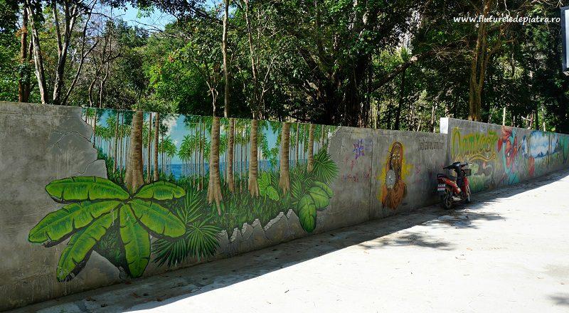 zidul care delimitează terasele de junglă, TonSai, Krabi, Thailanda