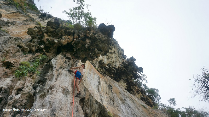 colonete de calcar, faleza One Two Three din Railay, escalada