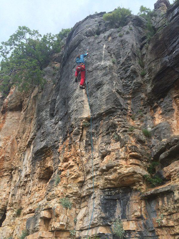 rainy day sport climbing karin crag, paklenica, croatia