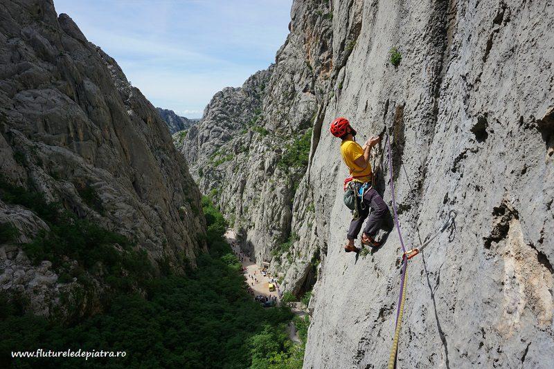 famous traverse in Senza Pieta rock climbing route, Debeli Kuk, Paklenica
