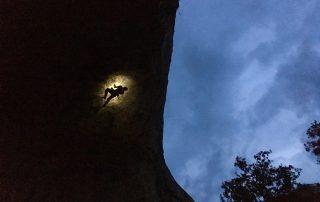 Escaladă noaptea în Paret de les Bruixes, Terradets, Spania