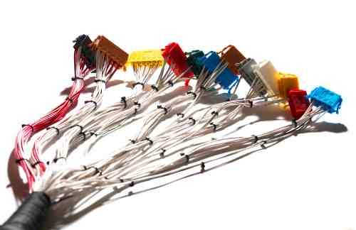 small resolution of wire harness loom with multiple coloured connectors at each end isolated on a white background