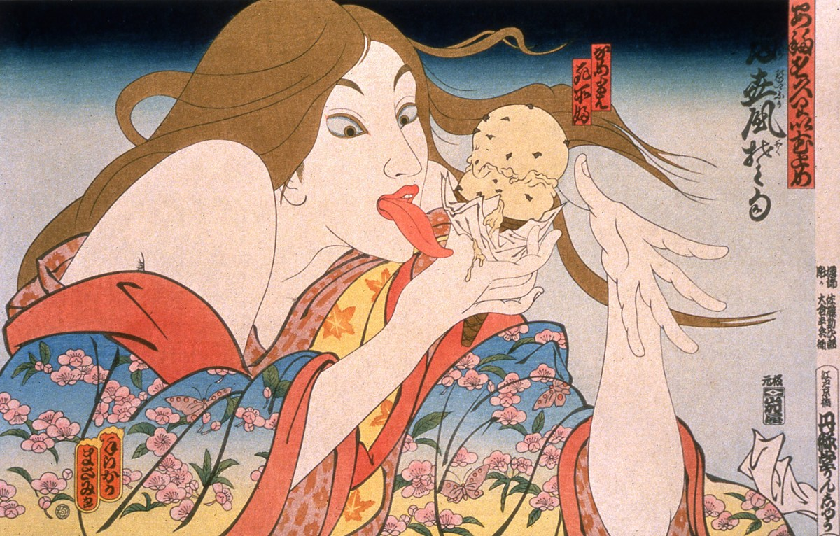 artwork of woman eating ice cream cone