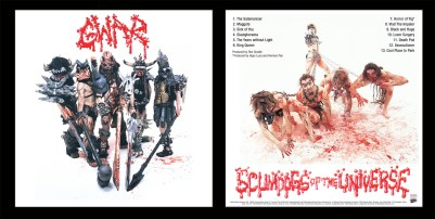 "Gwar, ""Scumdogs of the Universe"", LP sleeve design, 1990, Metal Blade Records"