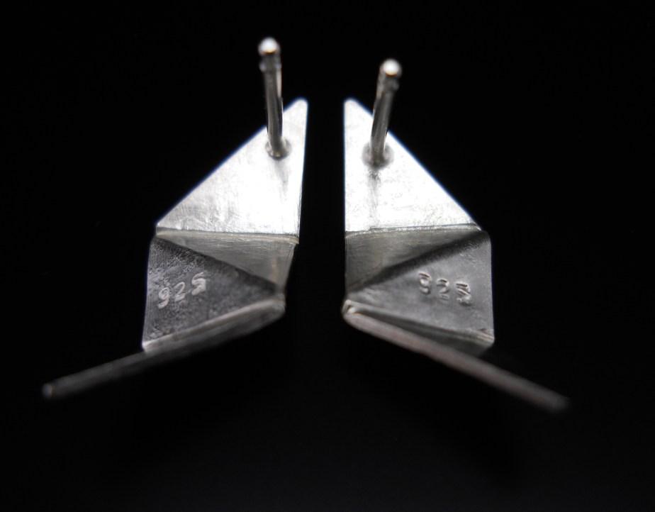 Origami Lightning Studs Silver back