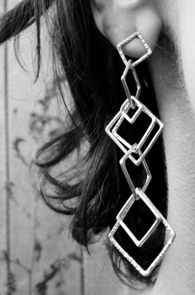 Geo Dangle Earrings Silver