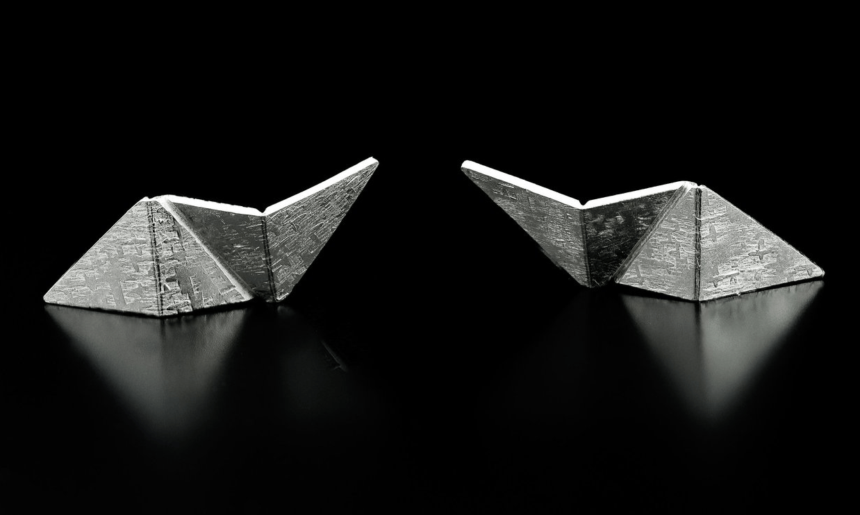 Origami Silver Lightning Stud Earrings, 925, Sterling Silver, Reversible, Raw Silk Texture, Handmade, Gift, Made in Ontario, Canada