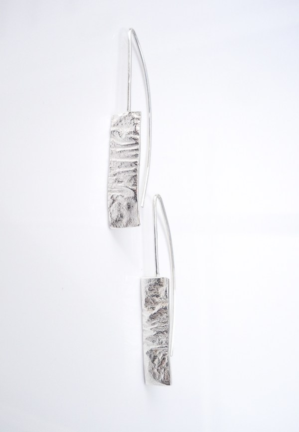 reticulated recycled sterling silver earrings