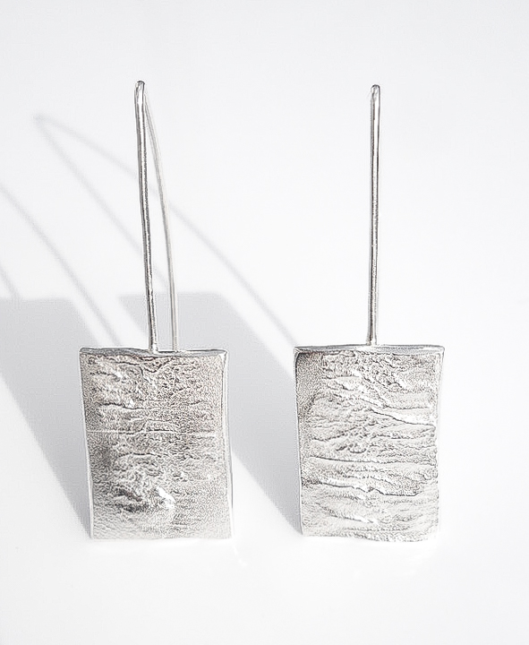 reticulated recycled sterling silver dangle earrings