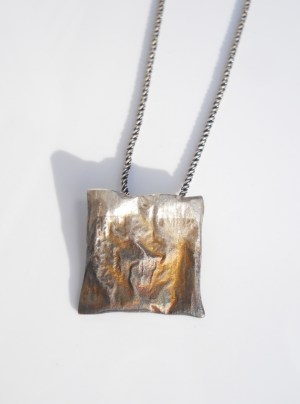 square reticulated recycled sterling silver pendant patina