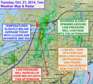 Low pressure will bring showers and cool weather to the Finger Lakes on Tuesday, Oct. 21.  Click image to enlarge.