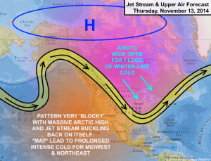 A pattern similar to last winter may bring a blast of early winter to our region late next week. Click image to enlarge.