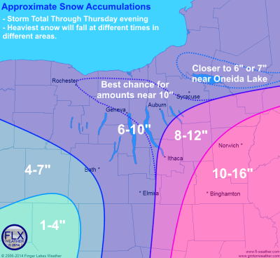 Approximate snow accumulations through Thursday evening. The heaviest snow will fall at different times across the region.  Click image to enlarge.