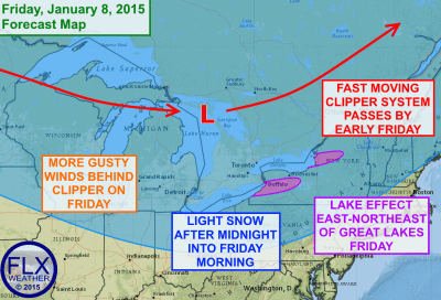 A clipper system will bring a shot of light snow overnight, followed by gusty winds and some lake effect snow on Friday. Click image to enlarge.