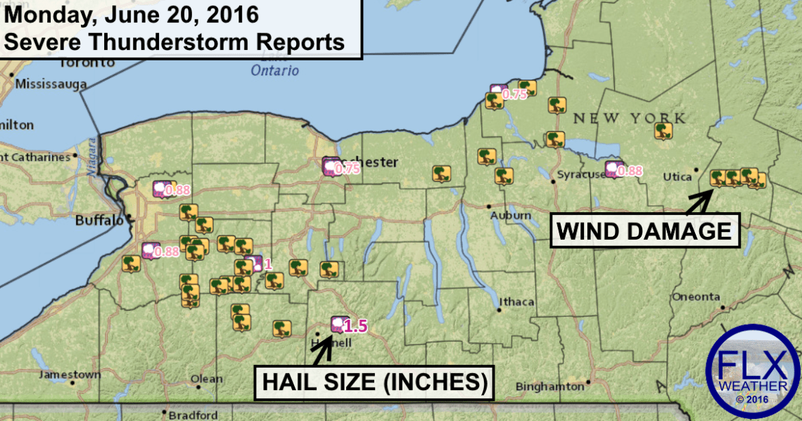 Localized areas of wind damage, especially southwest of the Finger Lakes, and some hail occurred Monday evening.