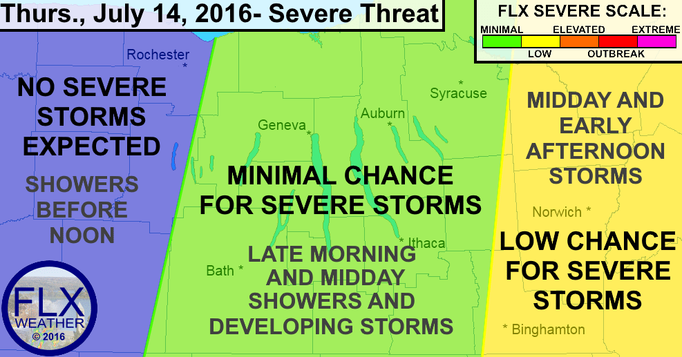 Thunderstorms will develop over the Finger Lakes during the midday hours before becoming severe further east.