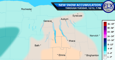 finger lakes weather forecast snow accumulation map tuesday december 12 2016