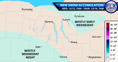 finger lakes weather forecast snow accumulation map wednesday december 13 2017