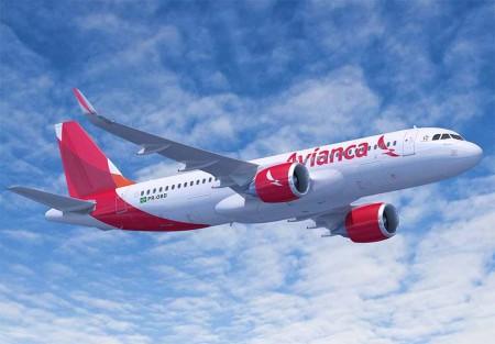 Dibujo de un A320neo con los colores de Avianca.
