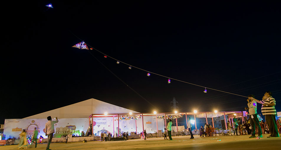 LED Night flying kite event for construction