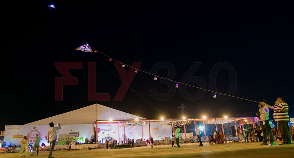 LED Night flying kites - Construction site promotion