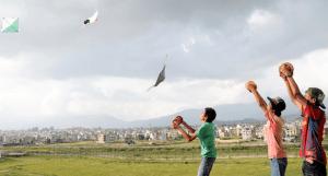 dashain festival kids flying kites