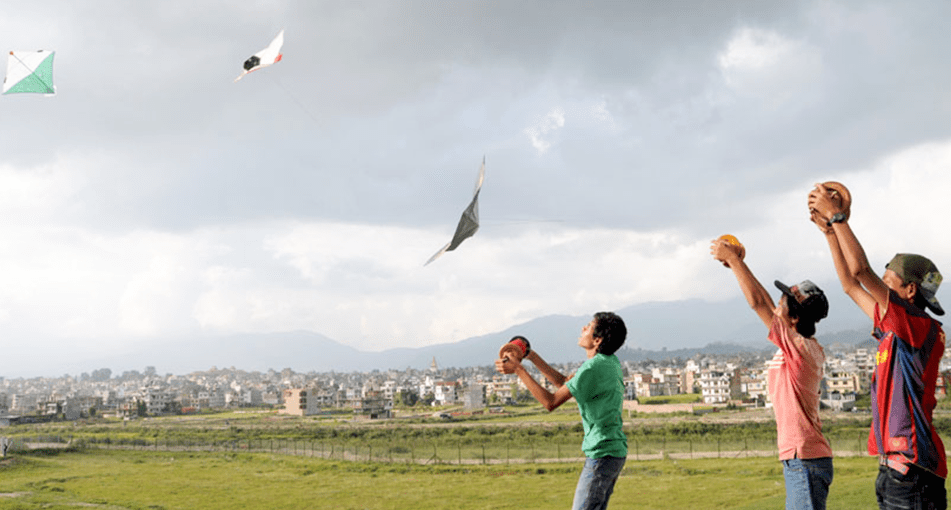 dashain festival kids flying kites
