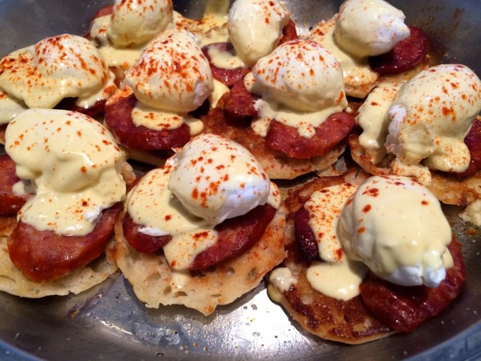 Portuguese Sausage Eggs Benedict