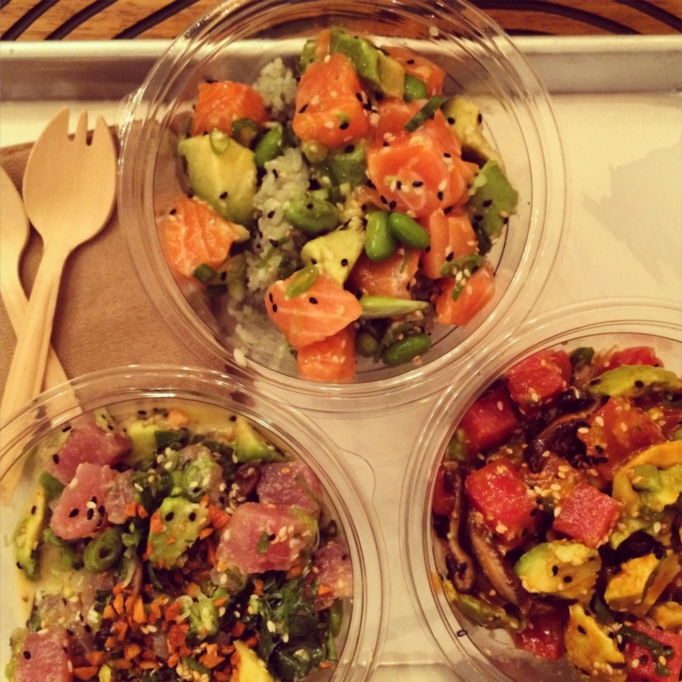 The new buzzword in LA? Poke. This is a sampling from Sweetfin Poke in Santa Monica, just opened this month.