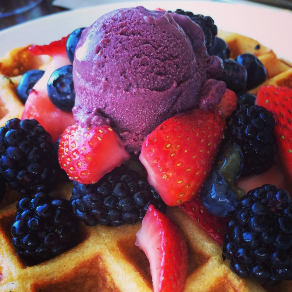 With brunch at the Strand House, there's no need for a dessert course when Chef Greg Hozinsky's yeasty waffles start out your meal.