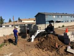 Backhoe starting to dig