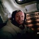 El astronauta americano Neil Armstrong después de pisar la Luna, 1969.