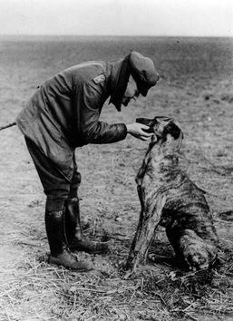 El as de la aviación alemana, Manfred von Richthofen (más conocido como 'Barón Rojo') y su perro, 1916.