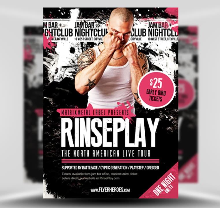 rinseplay rock band flyer template flyerheroes