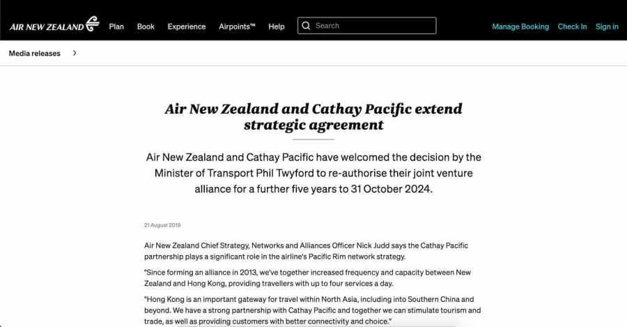 國泰航空及紐西蘭航空的策略合作(來源:紐西蘭航空官網)