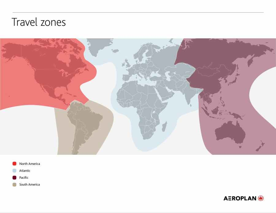 加拿大航空 Aeroplan 兌換分區 Travel Zones (圖片來源:加拿大航空)