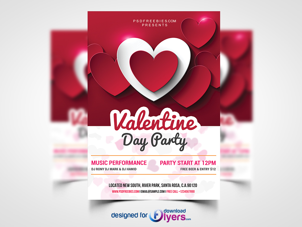 Valentine Day Party Flyer Free PSD Flyer PSD