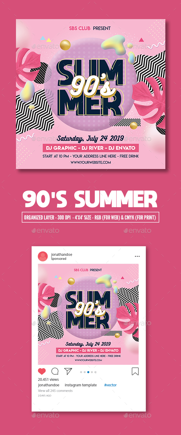 Flyers PSD – 90s Summer Celebration Flyer Template – Download