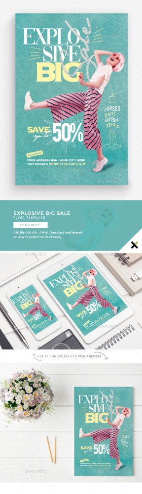 Flyers PSD – Explosive Gargantuan Sale Flyer Template – Download