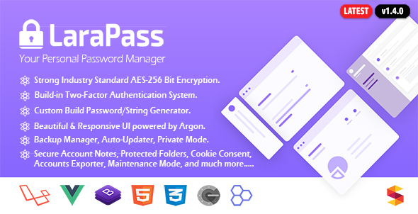 LaraPass – Your Private Password Manager – PHP Script Download