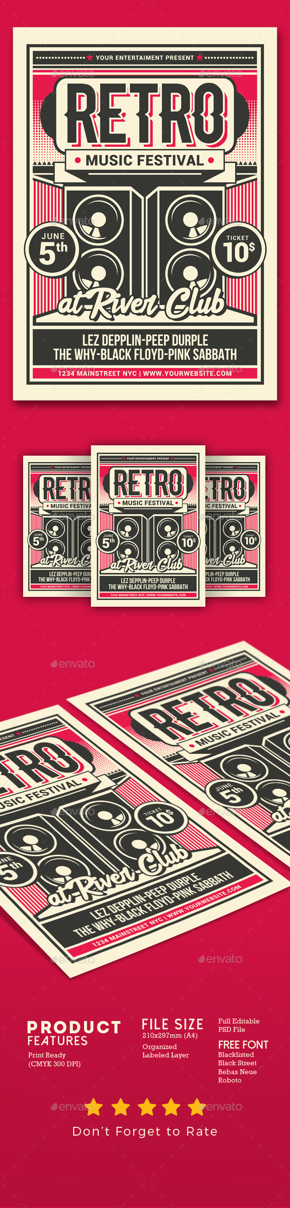 Flyers PSD – Retro Tune Festival – Download
